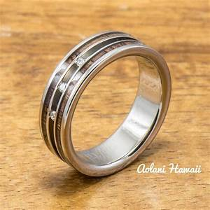 diamond titanium wedding ring set with hawaiian koa wood With hawaiian style wedding rings