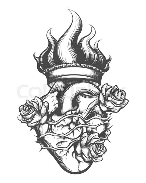 Sacred Heart drawn in engraving style. | Stock Vector