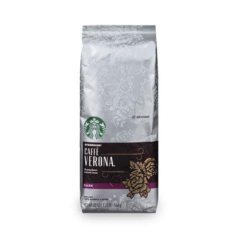 I prefer a dark roast coffee, and the starbucks verona blend is pretty decent. Starbucks Caffe Verona Dark Roast Ground Coffee, 20-Ounce Bag - Walmart.com