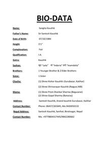 marriage resume format in biodata format