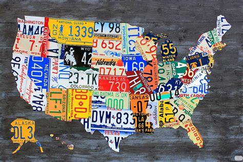 license plate map   usa  gray distressed wood