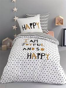 Couette Lit Enfant : silhouette taie d 39 oreiller enfant happy night housse de couette enfant happy night drap ~ Teatrodelosmanantiales.com Idées de Décoration