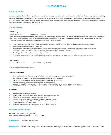 sample hr manager resume  examples  word