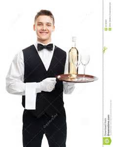 wine bottle serving tray waiter with bottle of wine on tray stock images