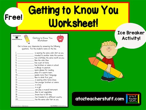 getting to you worksheet a to z stuff