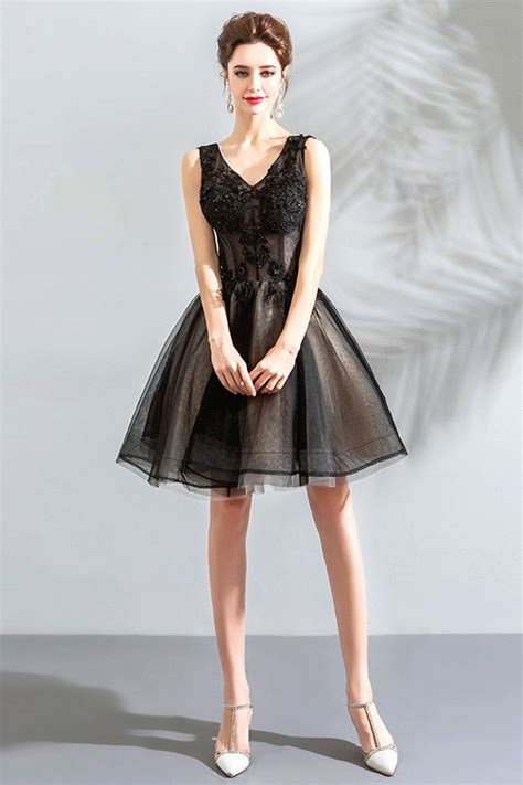 Little Black Tulle Poofy Short Prom Dress V-neck Lace Up ...