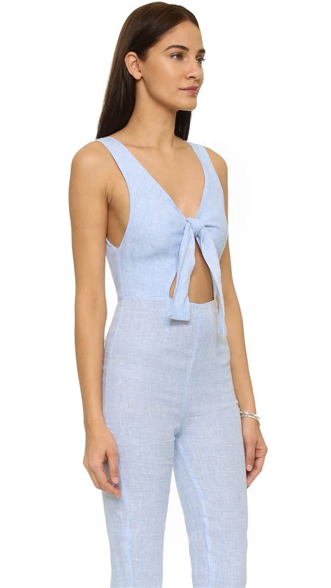 blue jumpsuit womens solid striped the jumpsuit in blue lyst