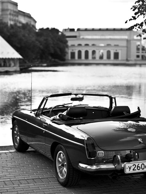 Retro Car Black And White Lake Android Wallpaper free download