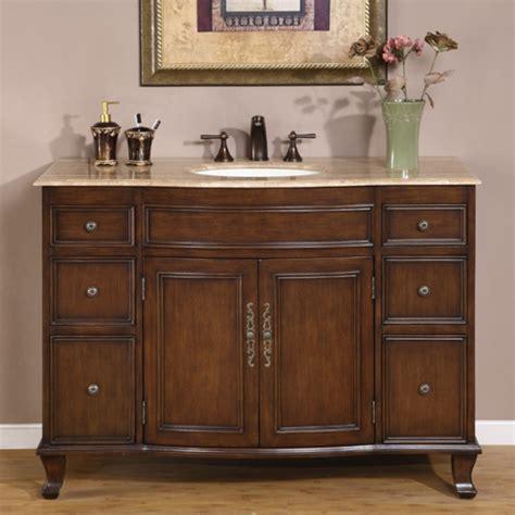 antique brown single sink bathroom vanity