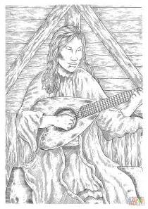 medieval peasant woman playing guitar coloring page  printable coloring pages