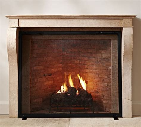 industrial fireplace    single screen pottery barn