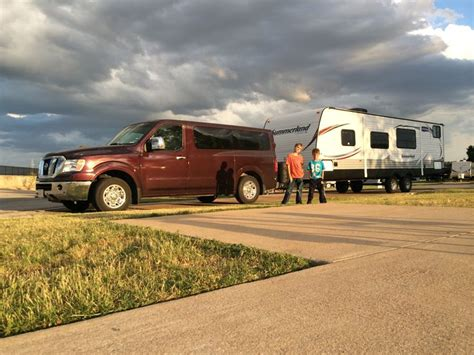 nissan nv passenger  sl tows  travel trailer