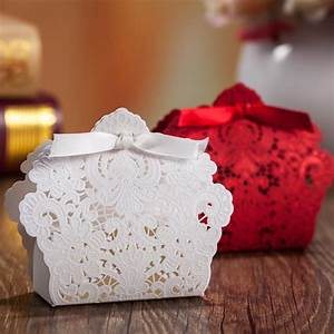 100pcs free shipping red white laser cut wedding favor for Favor boxes for wedding