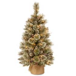 3ft pre lit battery operated glittery bristle pine burlap artificial christmas tree hayes