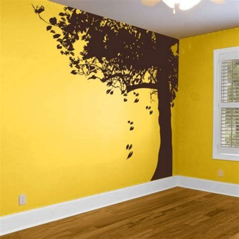 Wall Mural Decals Vinyl by Corner Tree With Falling Leaves Trees Branch Leaf