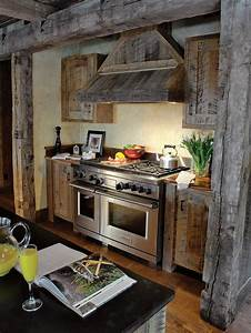 Country kitchen photos hgtv for Barn wood kitchen cabinets