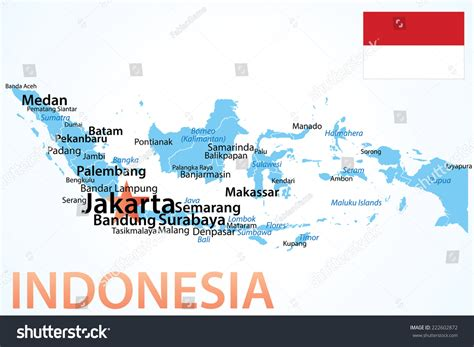 indonesia map largest cities carefully scaled stock vector