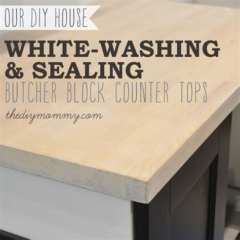 kitchen island makeover whitewash and seal a butcher block counter top the diy