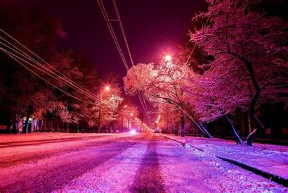 Winter Night Wallpapers Snow Street Covered