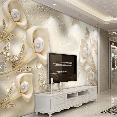 3d Wallpaper Deco by 3d Embossed Flower Jewelry Pearls Photo Wallpaper Mural