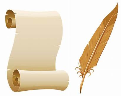 Pen Quill Paper Scrolled Clipart Scrolls Transparent