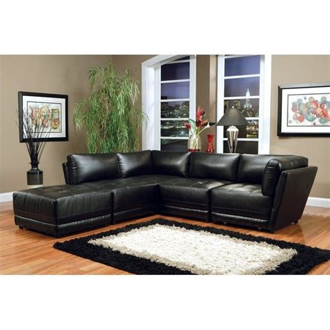 coaster leather sectional sofa coaster kayson bonded leather sectional in black 500891