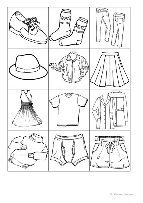 small flash cards  clothes worksheet  esl