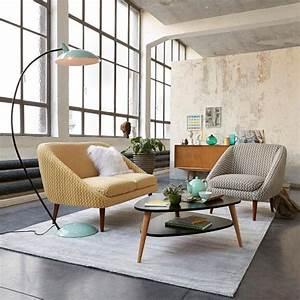 style deco vintage couleurs meubles accessoires et With tapis jaune avec canapé arrondi pas cher