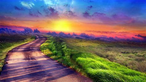 乡间小道的唯美风景高清壁纸图片大全_可爱图片