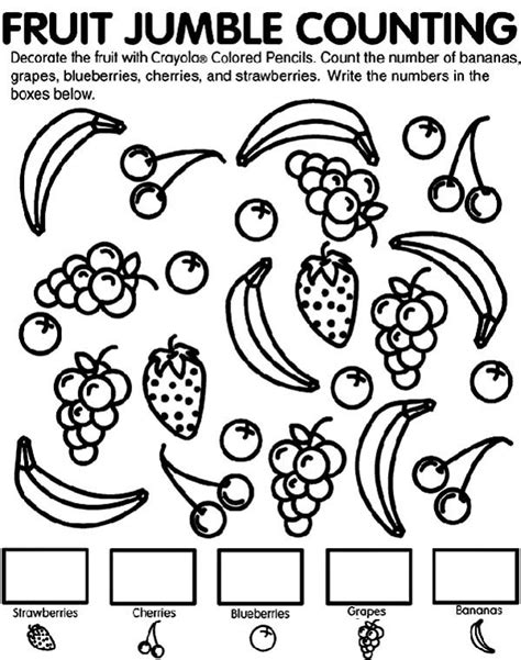 fruit jumble counting coloring page netart