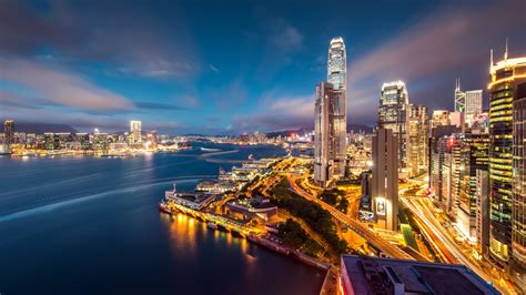 hong kong harbour night lights wallpapers hd wallpapers id