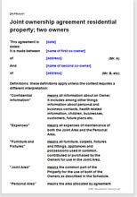 Boat Co Ownership Agreement Template by Joint Ownership Agreement For A Residential Property