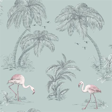 flamingo lake duck egg pink palm trees bird feature