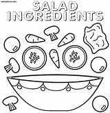 Salad Coloring Pages Print Ingredients Food sketch template