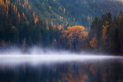 Lake Echo Fog Forest Autumn 4k Trees