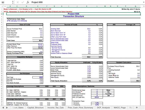 leveraged buyout lbo model template excel eloquens
