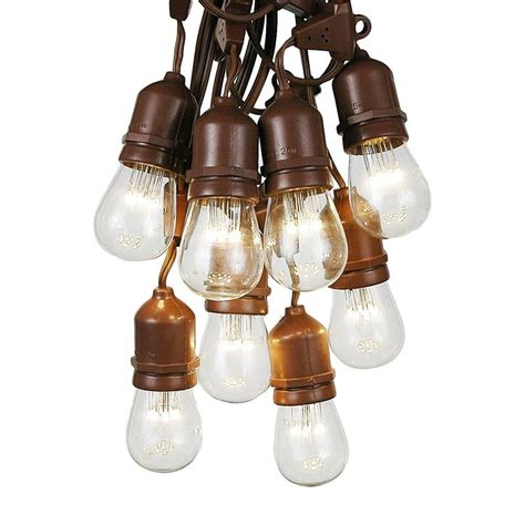 brown wire lights 25 warm white led s14 heavy duty hanging string light sets