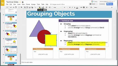 slides google objects grouping menu arrange