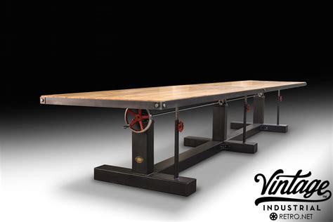 crank conference table model ck vintage industrial furniture