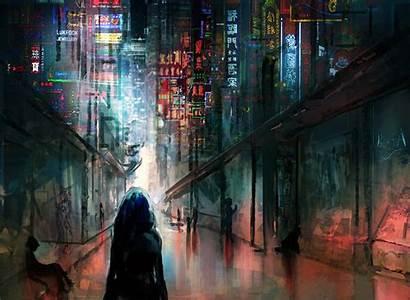 Cyberpunk Anime Lights Night Futuristic Scifi Buildings