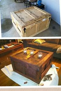 an old shipping crateturned into a coffee table With shipping crate coffee table