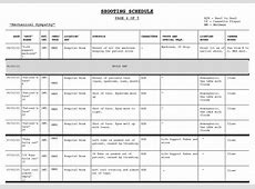 Template Shooting Schedule Template