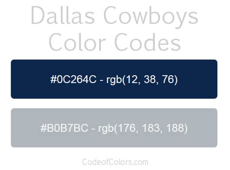 cowboys colors dallas cowboys team color codes nfl team colors