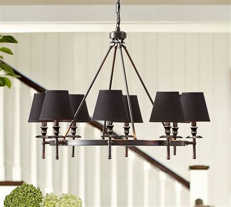 chandelier l shades pottery barn collins chandelier bronze pottery barn