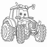 Tractor Coloring Colouring Cartoon Vehicle Truck Vector Pages Cars Farming Agricultural Printable Childish Illustration Drawing Moving Trucks Cute Boys Clipart sketch template
