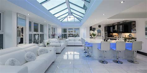 lantern roof orangery  internal led lighting   star conservatories