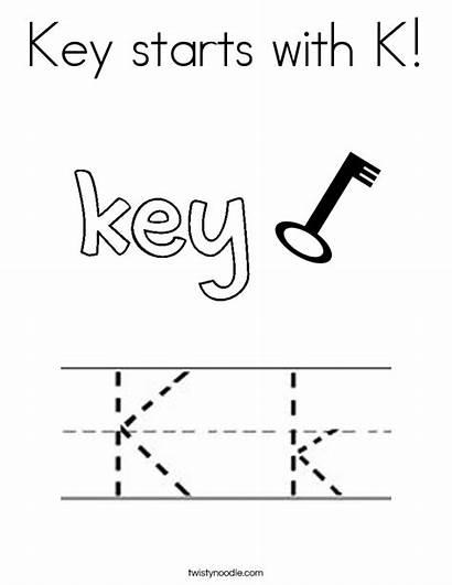 Key Coloring Starts Letter Kite Pages Koala