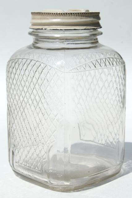vintage waffle glass hoosier jars  square glass