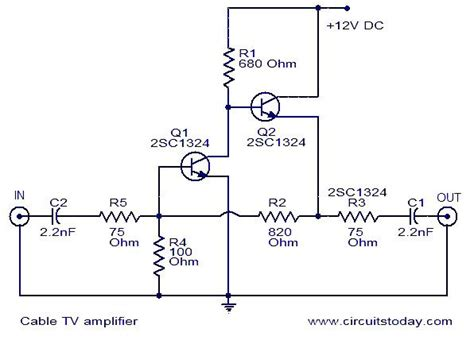 Lifier Wiring Diagram With Capacitor by Cable Tv Lifier Electronics And Electrical Projects