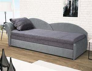Canapé Lit Une Place : canap lit gris pas cher avec rangement pour oreillers ~ Teatrodelosmanantiales.com Idées de Décoration
